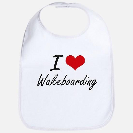 I Love Wakeboarding artistic Design Bib