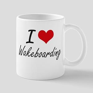 I Love Wakeboarding artistic Design Mugs