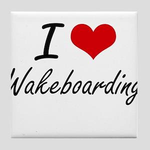 I Love Wakeboarding artistic Design Tile Coaster