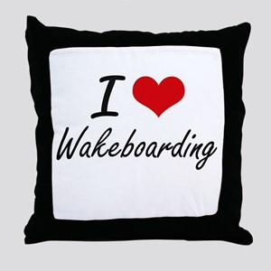 I Love Wakeboarding artistic Design Throw Pillow