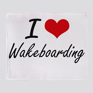I Love Wakeboarding artistic Design Throw Blanket