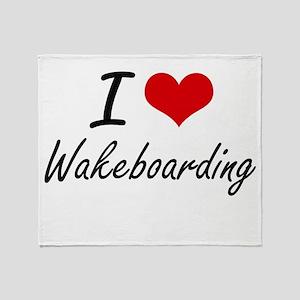 I Love Wakeboarding artistic Design Throw Blanket