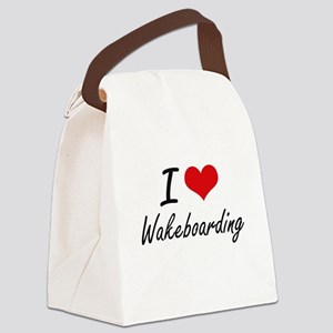 I Love Wakeboarding artistic Desi Canvas Lunch Bag