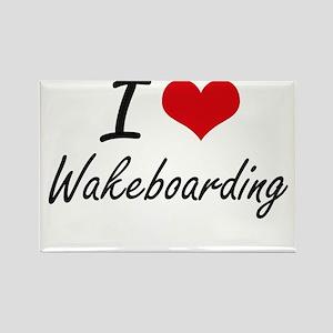 I Love Wakeboarding artistic Design Magnets