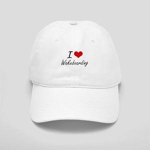 I Love Wakeboarding artistic Design Cap