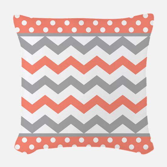 Coral and Gray Chevron Polka Dots Woven Throw Pill