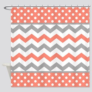 Coral And Gray Chevron Polka Dots Shower Curtain