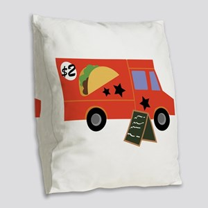 Taco Truck Burlap Throw Pillow