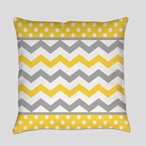 Yellow and Gray Chevron Polka Dots Everyday Pillow
