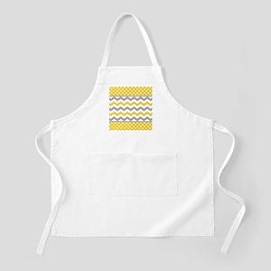 Yellow and Gray Chevron Polka Dots Apron