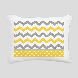 Yellow and Gray Chevron Polka Dots Rectangular Can