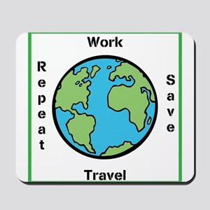 Work, Save, Travel, Repeat Mousepad