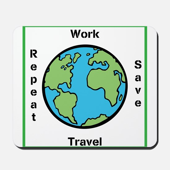 Work, Save, Travel, Repeat Mousepad
