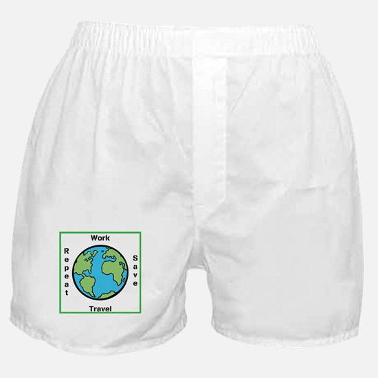 Work, Save, Travel, Repeat Boxer Shorts