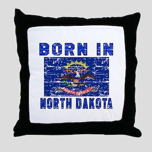 Born in North Dakota Throw Pillow