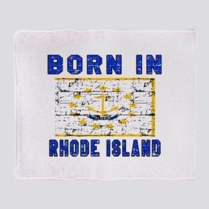 Born in Rhode Island Throw Blanket