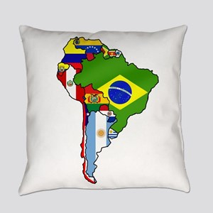 South America Flag Map Everyday Pillow