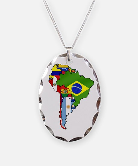 South America Flag Map Necklace