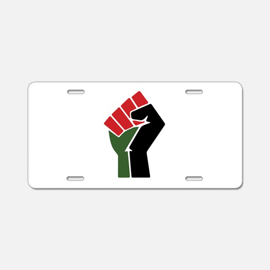 Black Red Green Fist Aluminum License Plate