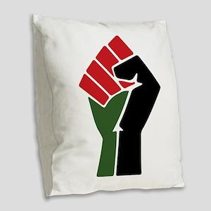 Black Red Green Fist Burlap Throw Pillow
