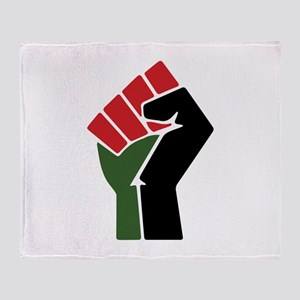 Black Red Green Fist Throw Blanket