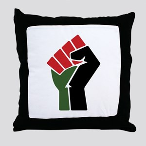 Black Red Green Fist Throw Pillow