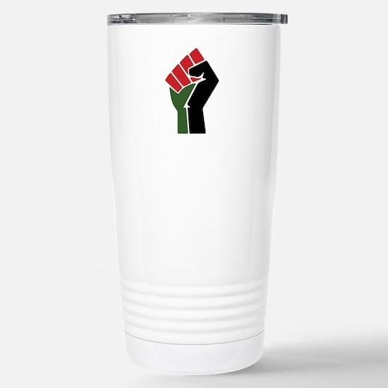 Black Red Green Fist Travel Mug