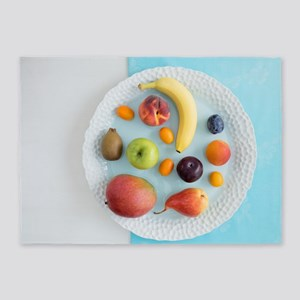Fruits on a plate 5'x7'Area Rug