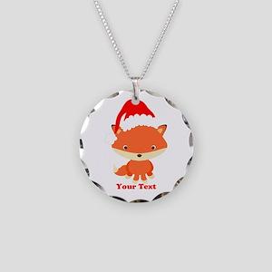 Christmas Santa Fox Necklace Circle Charm