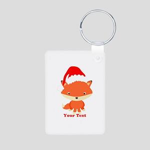 Christmas Santa Fox Aluminum Photo Keychain