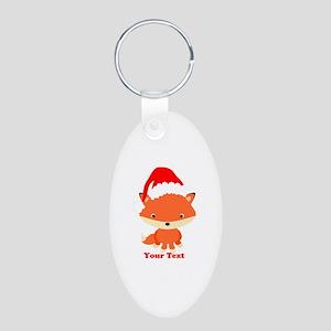 Christmas Santa Fox Aluminum Oval Keychain