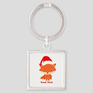 Christmas Santa Fox Square Keychain