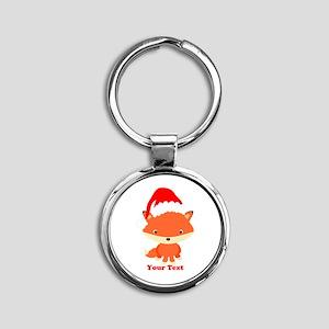 Christmas Santa Fox Round Keychain