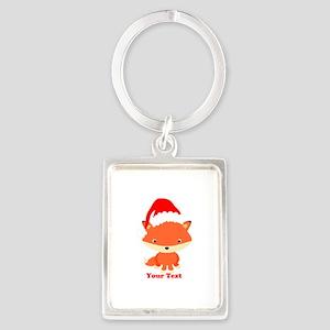 Christmas Santa Fox Portrait Keychain