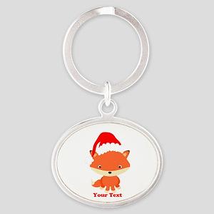 Christmas Santa Fox Oval Keychain