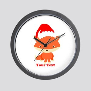 Christmas Santa Fox Wall Clock