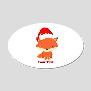 Christmas Santa Fox 20x12 Oval Wall Decal