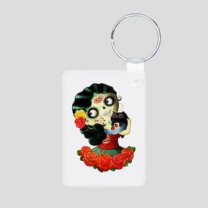 Mexican Dia de Los Muertos Girl Keychains