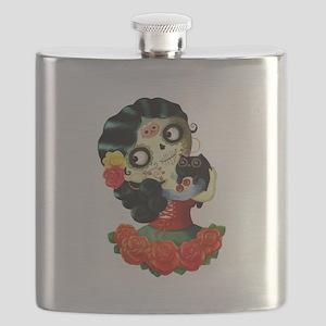 Mexican Dia de Los Muertos Girl Flask