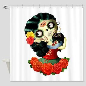 Mexican Dia de Los Muertos Girl Shower Curtain