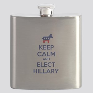 Keep calm and elect Hillary Flask