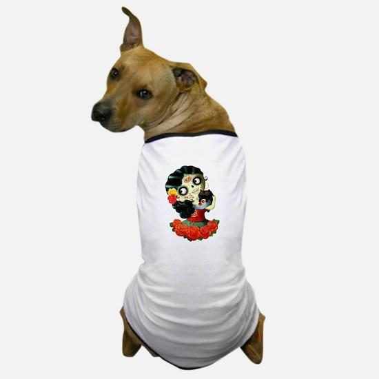 Mexican Dia de Los Muertos Girl Dog T-Shirt