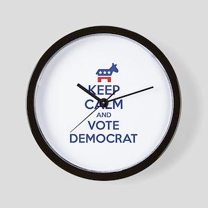 Keep calm and vote democrat Wall Clock