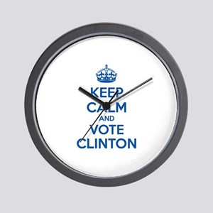 Keep calm and vote Clinton Wall Clock