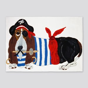 Basset Hound Pirate 5'x7'area Rug
