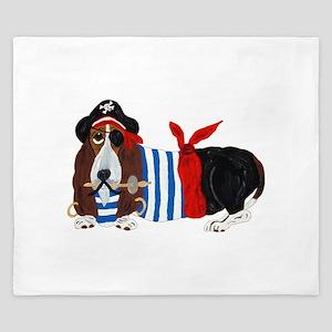 Basset Hound Pirate King Duvet
