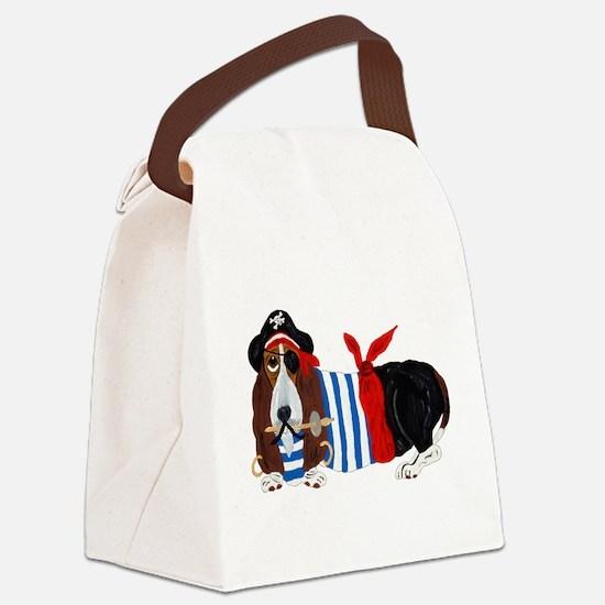 Basset Hound Pirate Canvas Lunch Bag
