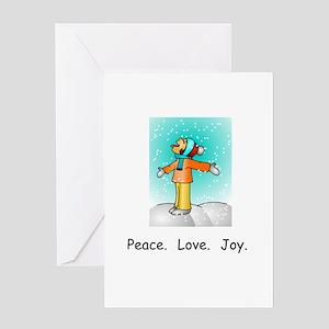 Peace Love Joy Christmas Snowflakes Greeting Cards