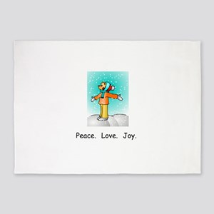 Peace Love Joy Christmas Snowflakes 5'x7'Area Rug