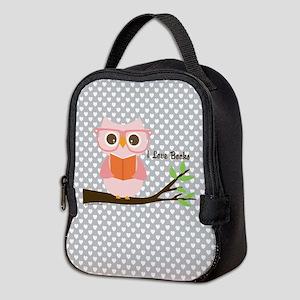 Cute Owl Reading Neoprene Lunch Bag